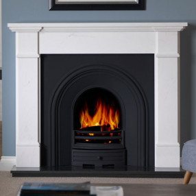 "58"" Penman Velletri Clara Pura Fireplace with Falkirk Cast Iron Arch"