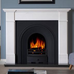 "58"" Penman Velletri Clara Pura Fireplace with Falkirk Cast Iron Arch"