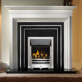 "Gallery Asquith 55"" Stone Fireplace with Hamilton Cast Iron Fascia"
