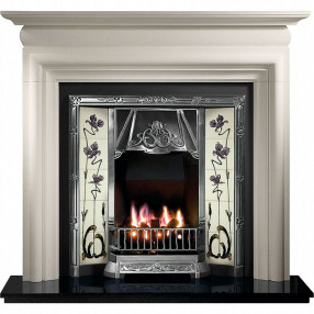 Gallery Asquith Limestone Fireplace with Toulouse Cast Iron Tiled Insert