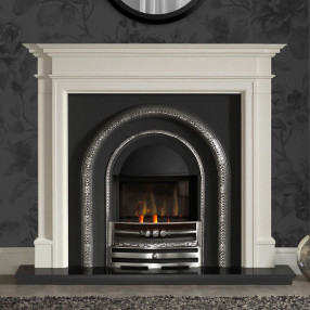 Gallery Bartello Limestone Fireplace with Lytton HE Cast Iron Arch