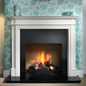 Gallery Bartello Limestone Fireplace Suite with optional Nexus Fire Basket