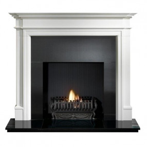 Gallery Bartello Limestone Fireplace with optional Valencia Fire Basket