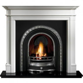 Gallery Bartello Limestone Fireplace with Henley Cast Iron Arch