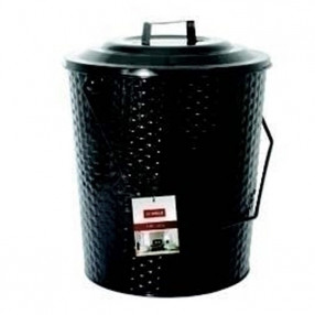 Basket Weave Metal Coal Tub with Lid
