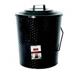 Basket Weave Metal Coal Tub with Lid