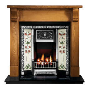 Gallery Bedford Pine Fireplace with Northmoor Cast Iron Tiled Insert