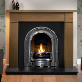 "Gallery Brompton 51"" Pine Fireplace with Coronet Cast Iron Arch"