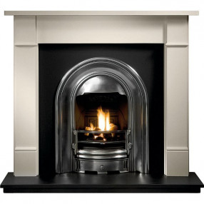 Gallery Brompton Limestone Fireplace with Sutton Cast Iron Arch