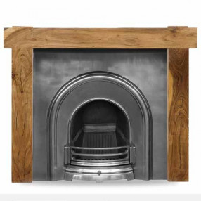 Carron New York Acacia Fireplace with Celtic Cast Iron Arch