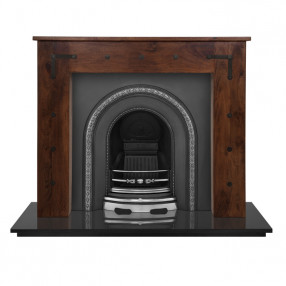 Carron New England Wooden Fireplace with Ce Lux Cast Iron Arch