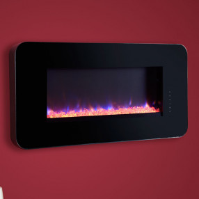 Celsi Touchflame Wall Mounted Electric Fire Black with Crystals