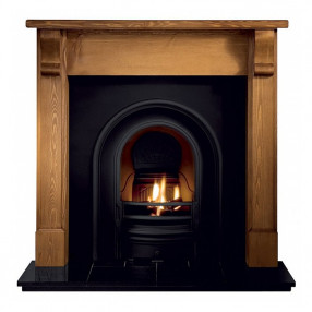Gallery Bedford Pine Fireplace with Coronet Cast Iron Arch