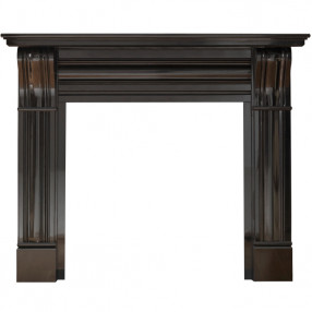 "Gallery Corbel 60"" Black Granite Fireplace Surround"
