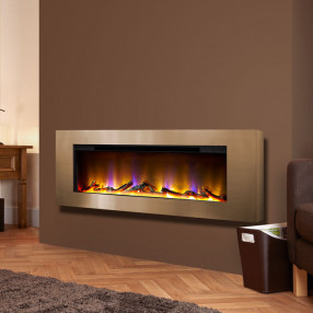 "Basilica 40"" Wall Mounted Inset Electric Fire Champagne Room Set"