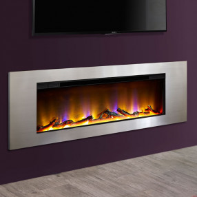"Metz 40"" Wall Mounted Inset Electric Fire Satin Silver"