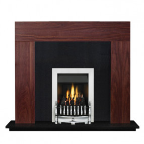 "Ekofires 7080 Walnut Veneer 46"" Fireplace Suite"