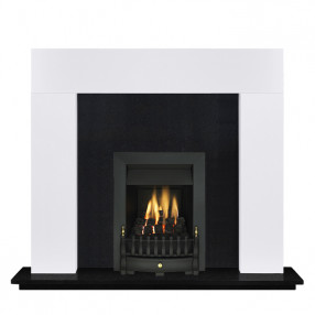 "Ekofires 7080 White Painted 46"" Fireplace Suite"