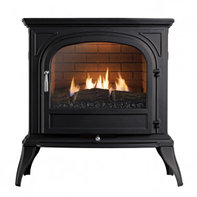 Ekofires 6010 Flueless Gas Stove In Black With Plain Door