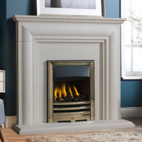 "Gallery Ellerby 48"" Limestone Fireplace Suite"