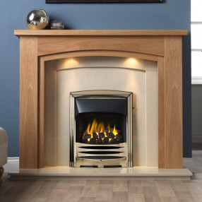 "Gallery Allerton 54"" Light Oak Finish Fireplace Suite"