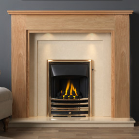 "Gallery Atwick 54"" Light Oak Finish Fireplace Suite"