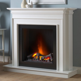 Katell Genoa electric fireplace suite in white with black ribbed chamber