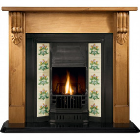 Gallery Grand Corbel Pine Fireplace with Prince Cast Iron Tiled Insert