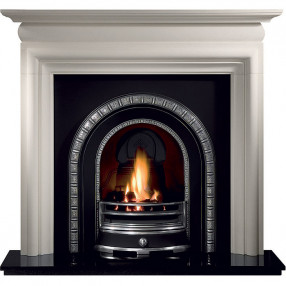 Gallery Asquith Limestone Fireplace with Henley Cast Iron Arch