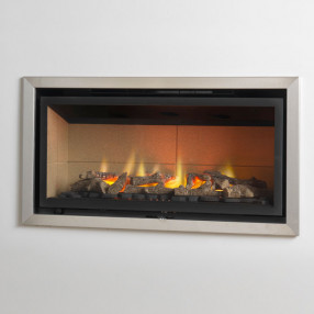 Valor Inspire 800 FS Hole in the Wall Gas Fire with Vermiculite Liner and Brushed Chrome Edge Trim