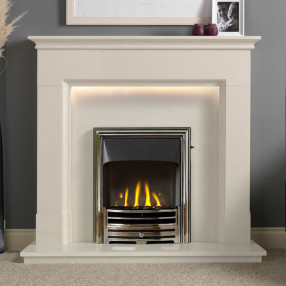 "Gallery Langdon 48"" Arctic White Fireplace Suite"