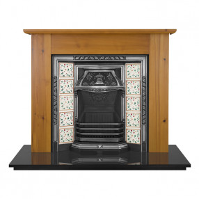 Carron Wexford Wooden Fireplace with Laurel Cast Iron Tiled Insert