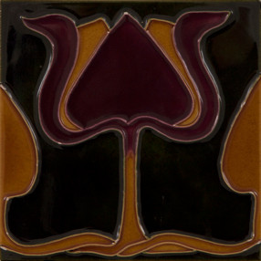 Carron Set of 10 Burgundy/Orange Tulip on Green Tiles - LGC003