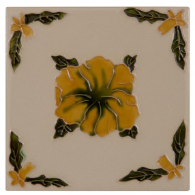 Carron Set of 10 Orange Flower on Cream Tiles LGC021