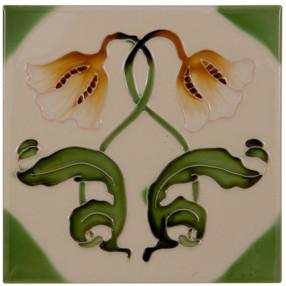Carron Set of 10 Orange Tulip Dark Green Leaf Tiles - LGC042