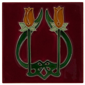 Carron Set of 10 Orange Tulip on Red Tiles - LGC085