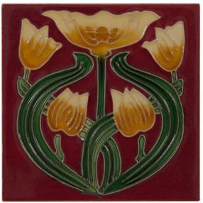 Carron Set of 10 Yellow Tulip on Red Tiles - LGC088