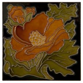 Carron Set of 10 Rust Flower on Black Tiles - LGC093