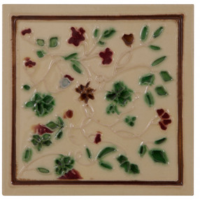 Carron Set of 10 Red/Green on Cream Tiles - LGC094