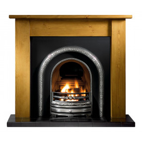 Gallery Lincoln Wood Fireplace with Lytton Cast Iron Arch