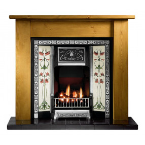 Gallery Lincoln Pine Fireplace with Northmoor Cast Iron Tiled Insert