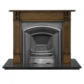 Carron Earlswood Wooden Fireplace with London Plate Cast Iron Arch Highlighted