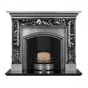 Carron Mayfair Cast Iron Fireplace with London Plate Wide Cast Iron Arch Full Polished