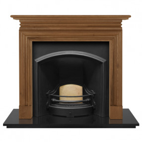 Carron Wessex Wooden Fireplace with London Plate Wide Cast Iron Arch Black