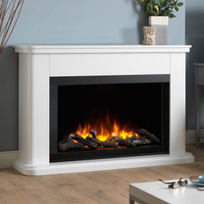 Katell Milan electric fireplace suite in white with high gloss chamber