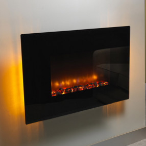 Be Modern Orlando Flat Black Glass Wall Mounted Electric Fire