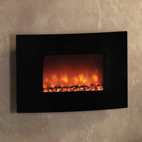 Be Modern Orlando Curved Black Glass Wall Mounted Electric Fire