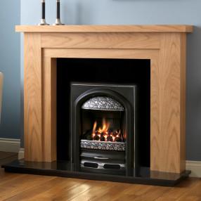 PureGlow Hanley Oak Finish Fireplace Suite