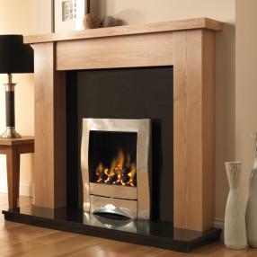 PureGlow Stanford Oak Finish Fireplace Suite