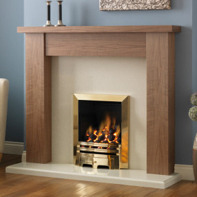 PureGlow Stanford Walnut Finish Fireplace Suite